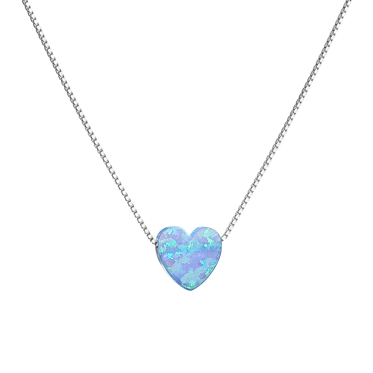 Strieborný náhrdelník so syntetickým opálom svetlo modré srdce 12048.3