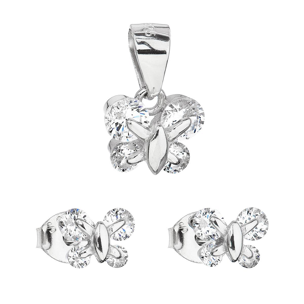 Sada šperkov so zirkónom náušnice a prívesok biely motýľ 19005.1