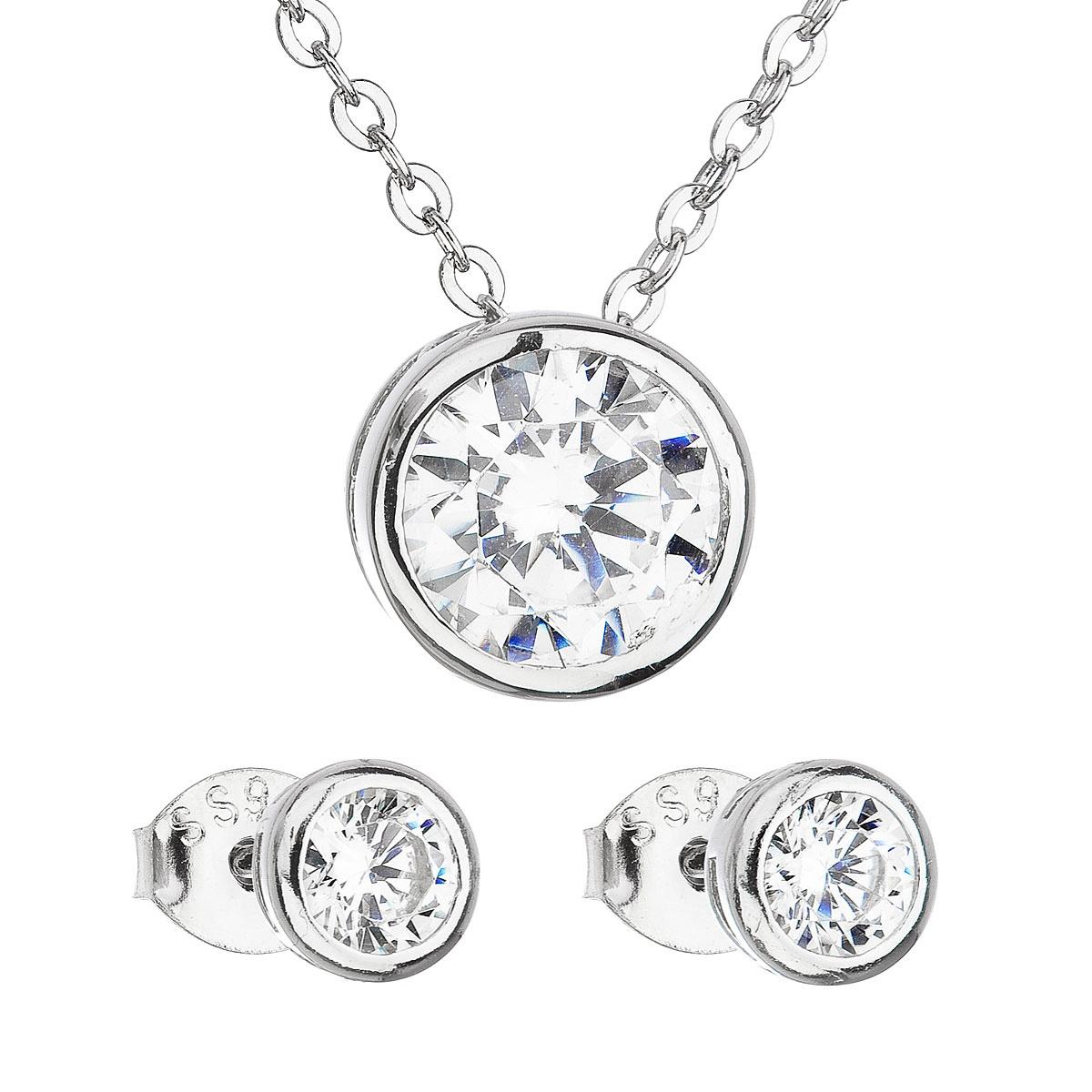 Sada šperkov so zirkónom v bielej farbe náušnice a náhrdelník 19006.1