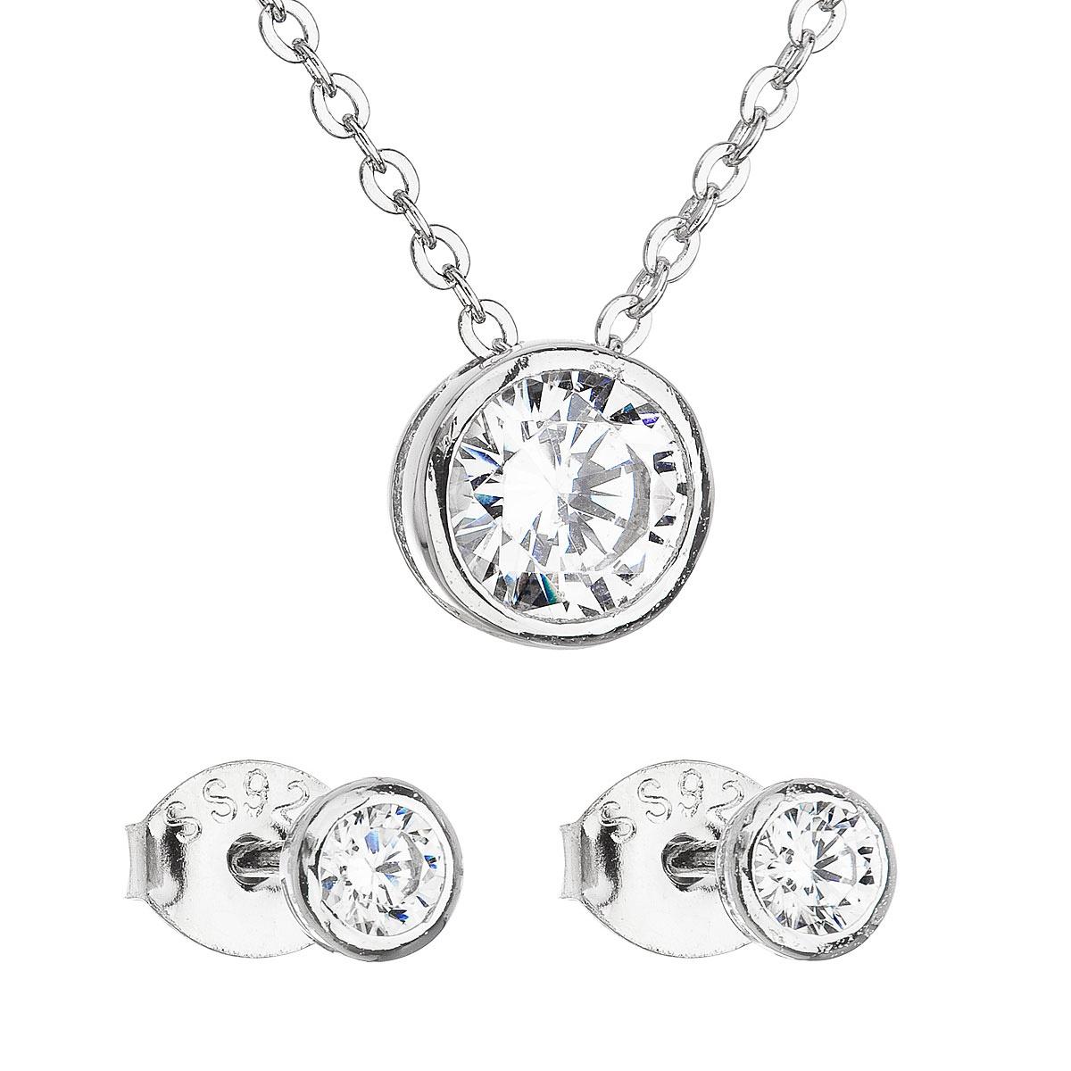 Sada šperkov so zirkónom v bielej farbe náušnice a náhrdelník 19007.1