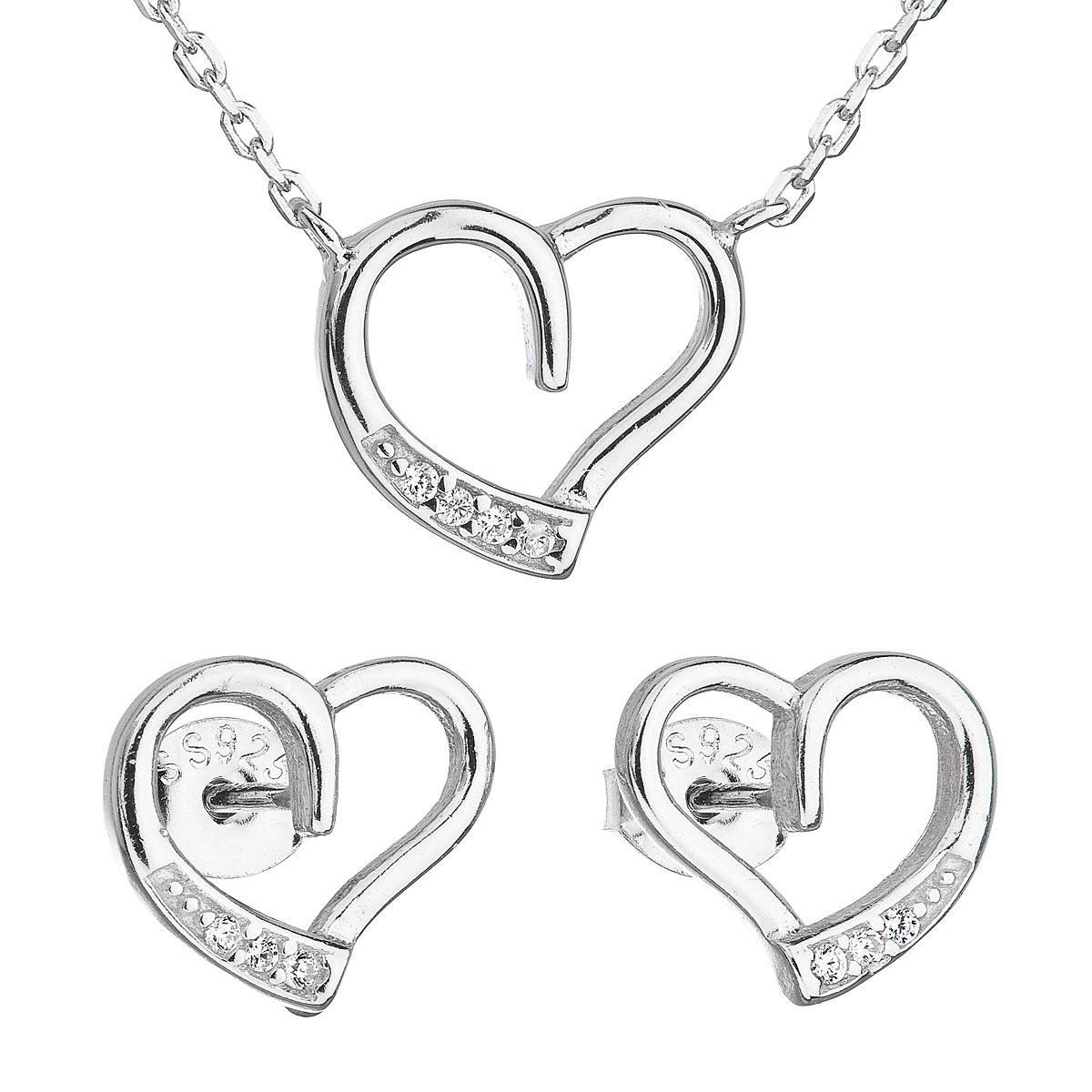 Sada šperkov so zirkónom náušnice a náhrdelník biele srdce 19009.1