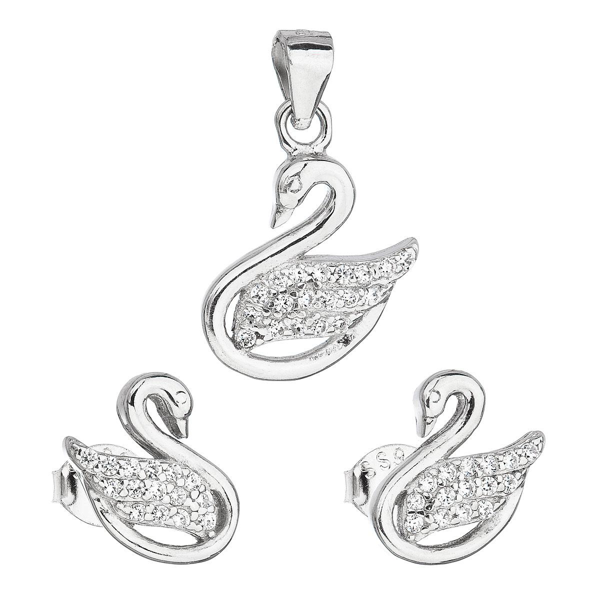 Sada šperkov so zirkónom náušnice a prívesok biela labuť 19010.1