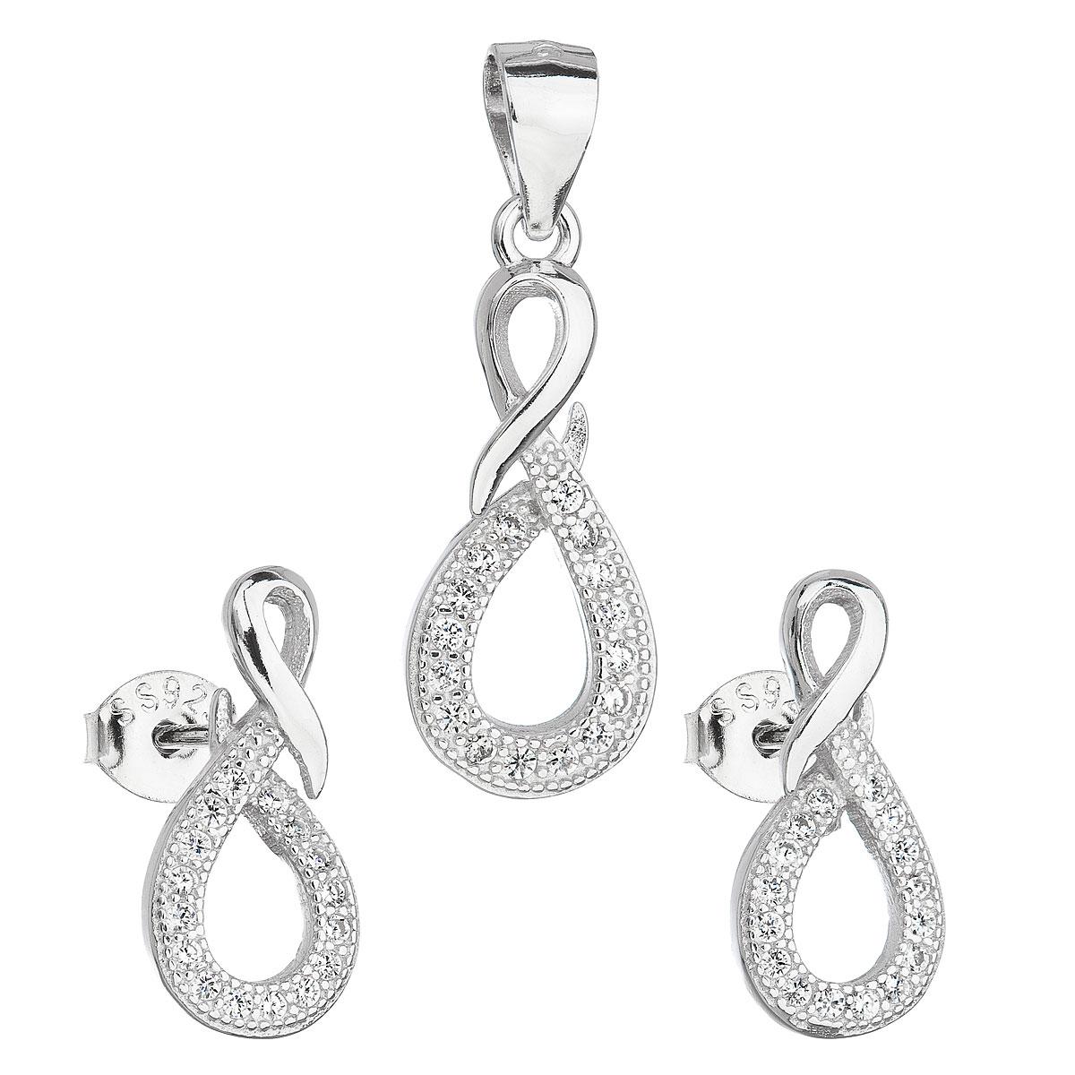 Sada šperkov so zirkónom v bielej farbe náušnice a prívesok 19012.1