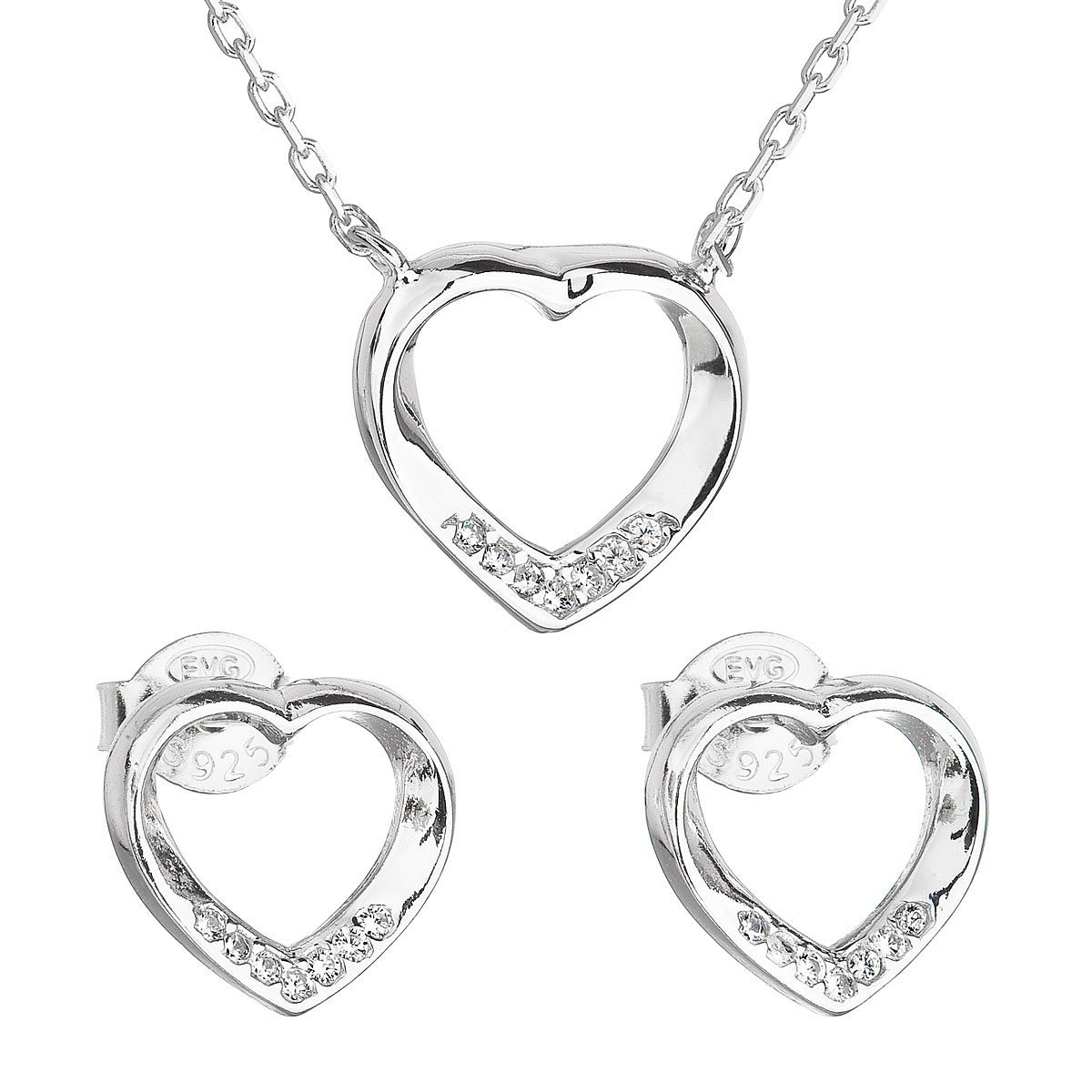 Sada šperkov so zirkónom náušnice a náhrdelník biele srdce 19019.1