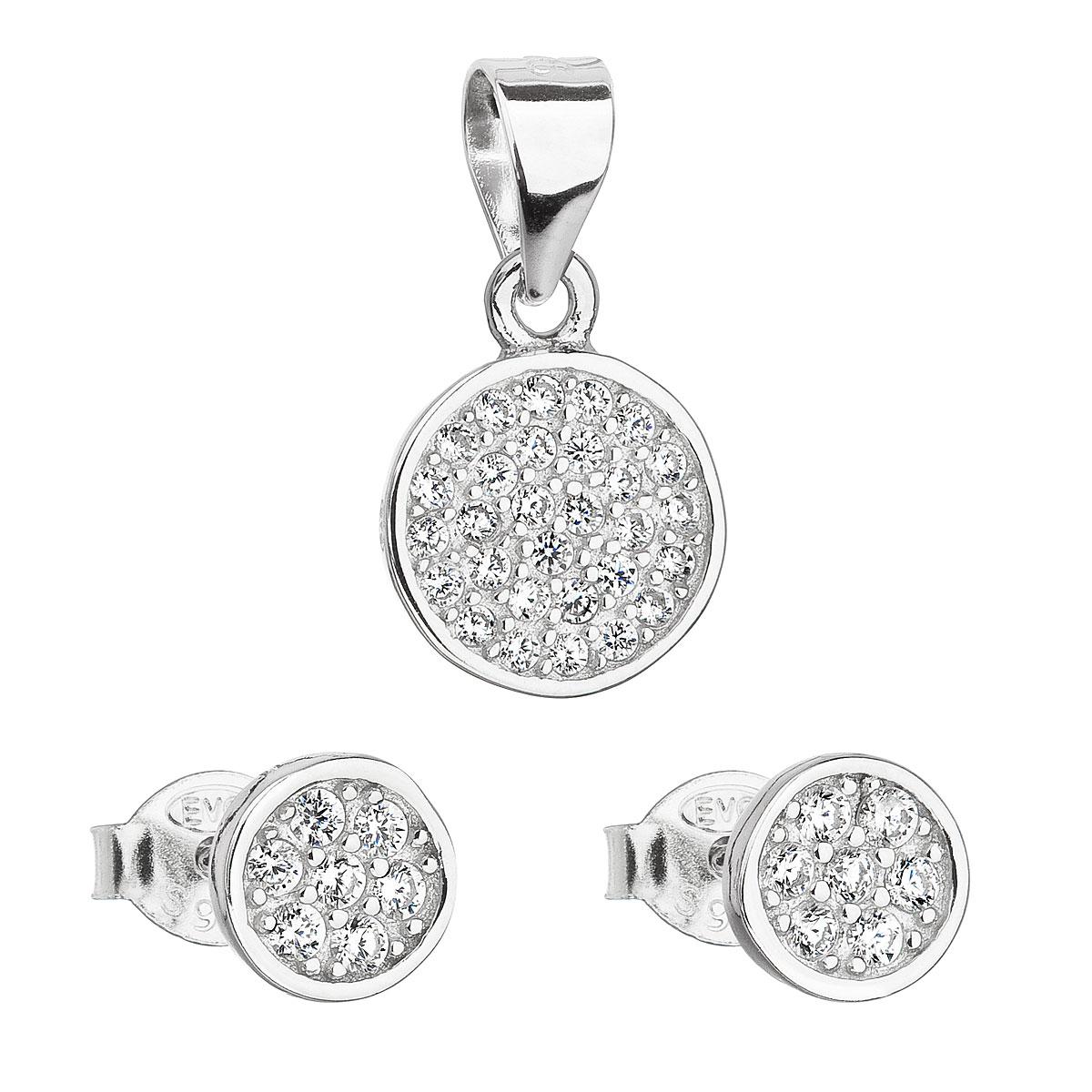 Sada šperkov so zirkónom v bielej farbe náušnice a prívesok 19020.1