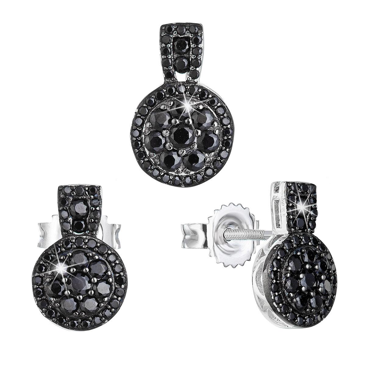 Sada šperkov so zirkónom náušnice a privesok čierne okrúhle 19024.3