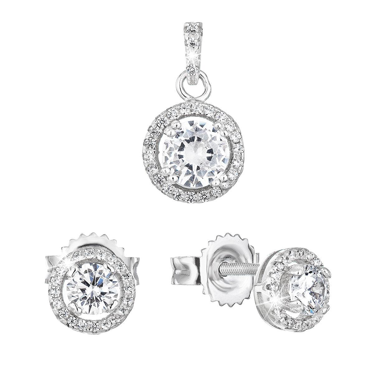 Sada šperkov so zirkónom náušnice a privesok biele okrúhle 19026.1