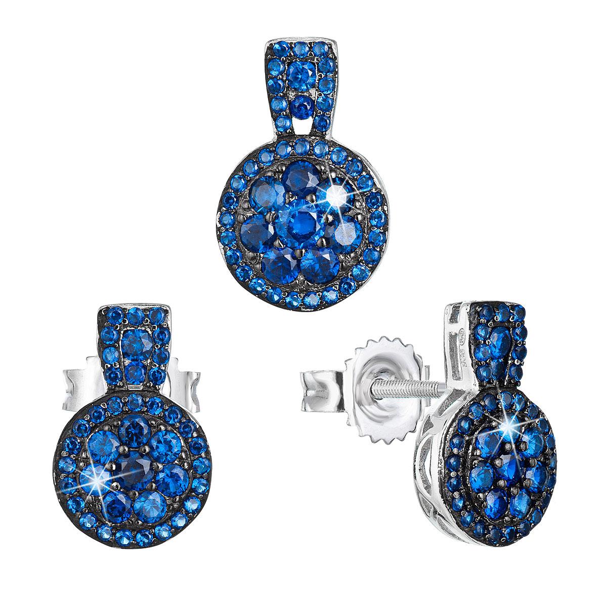 Sada šperkov so zirkónom náušnice a privesok modré okrúhle 19024.3