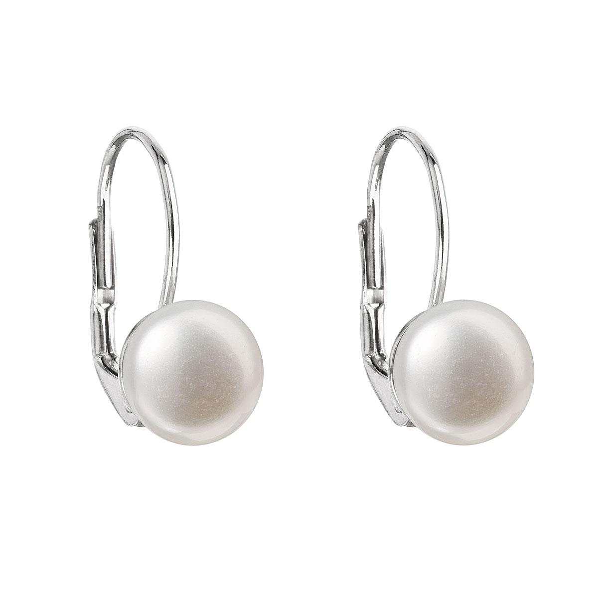 Strieborné náušnice visiace s bielou riečnou perlou 21009.1