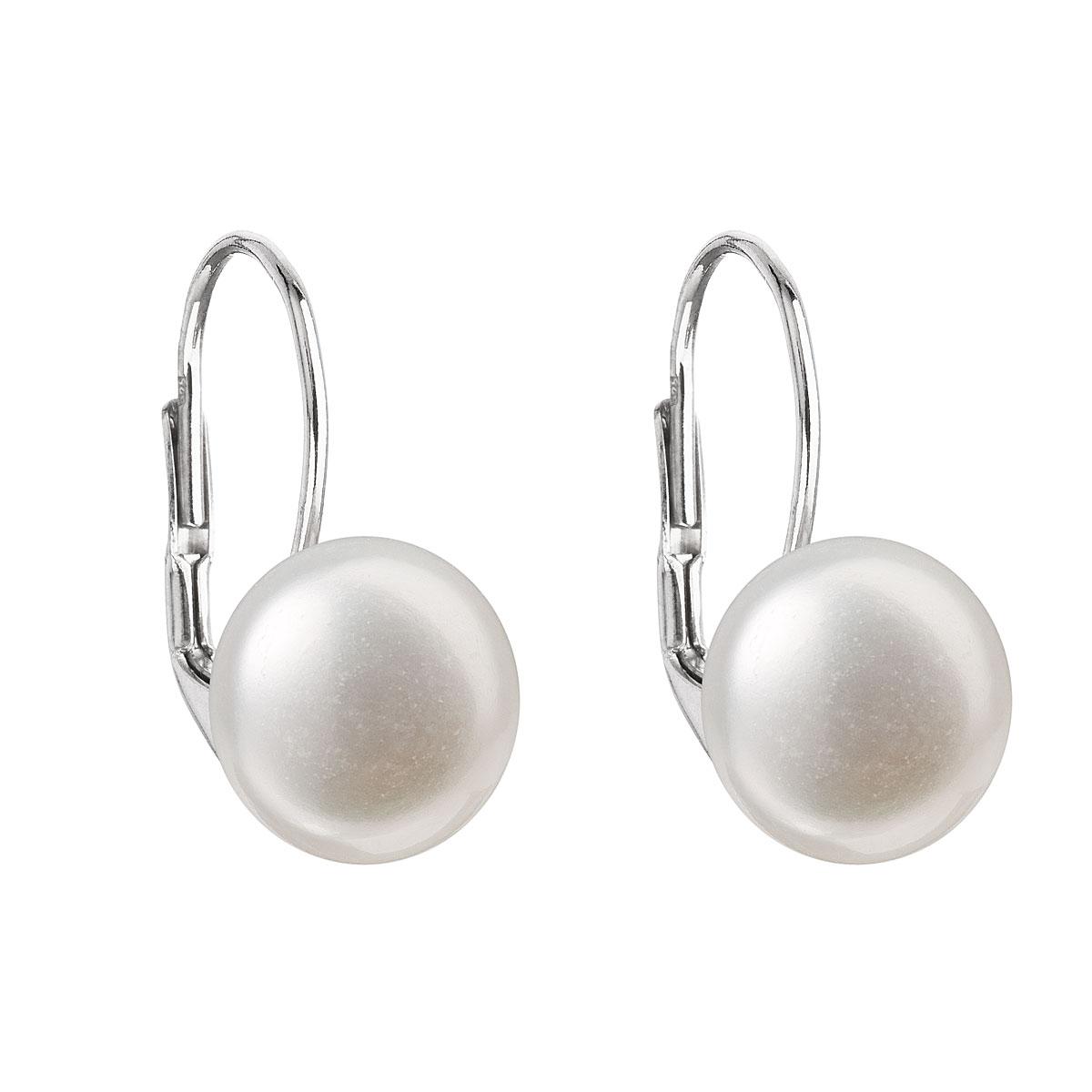 Strieborné náušnice visiace s bielou riečnou perlou 21010.1
