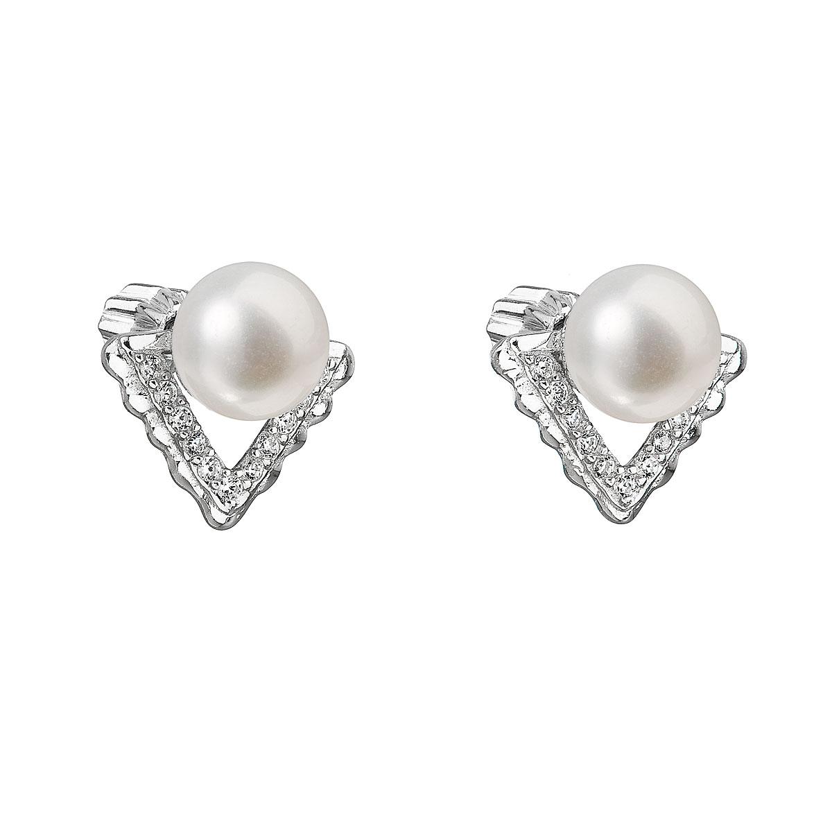 Strieborné náušnice kôstky s bielou riečnou perlou 21012.1