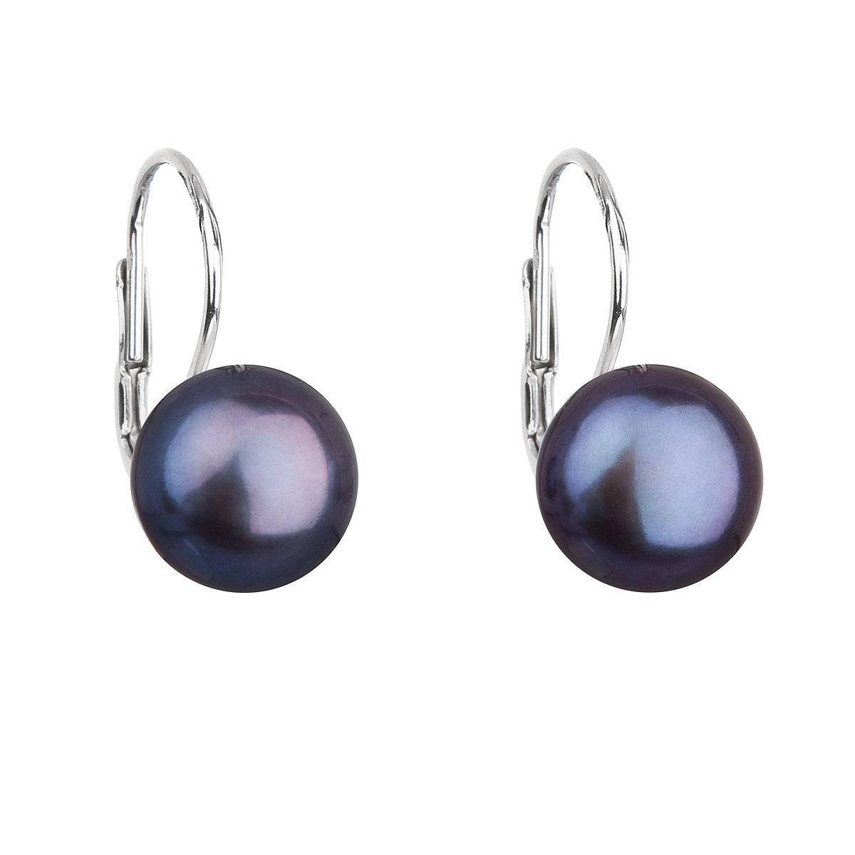 Strieborné náušnice visiace s modrou riečnou perlou 21009.3