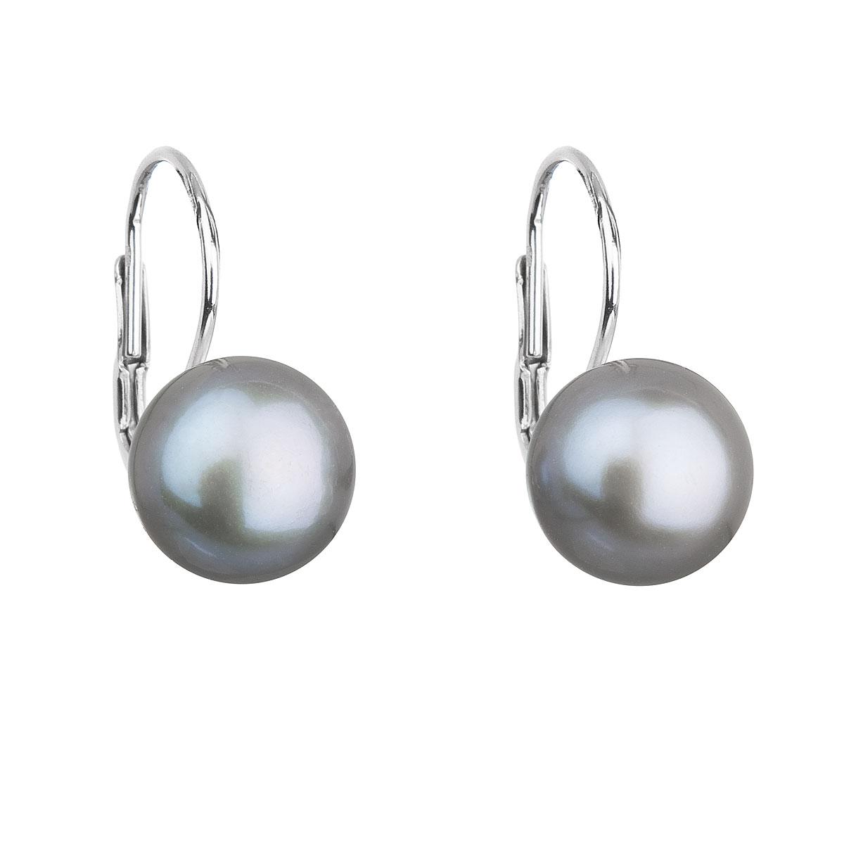 Strieborné náušnice visiace so šedou riečnou perlou 21009.3