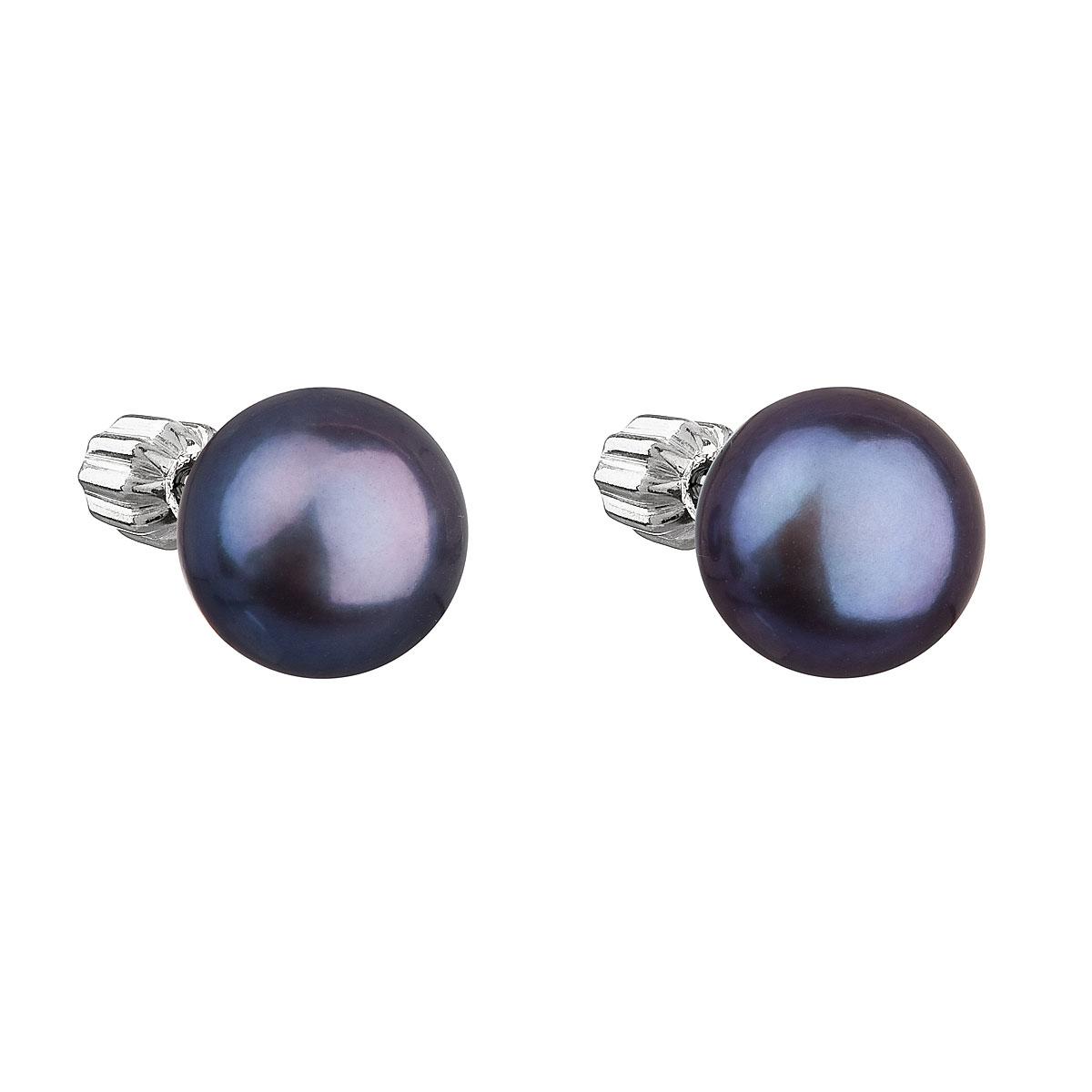 Strieborné náušnice kôstky s modrou riečnou perlou 21004.3