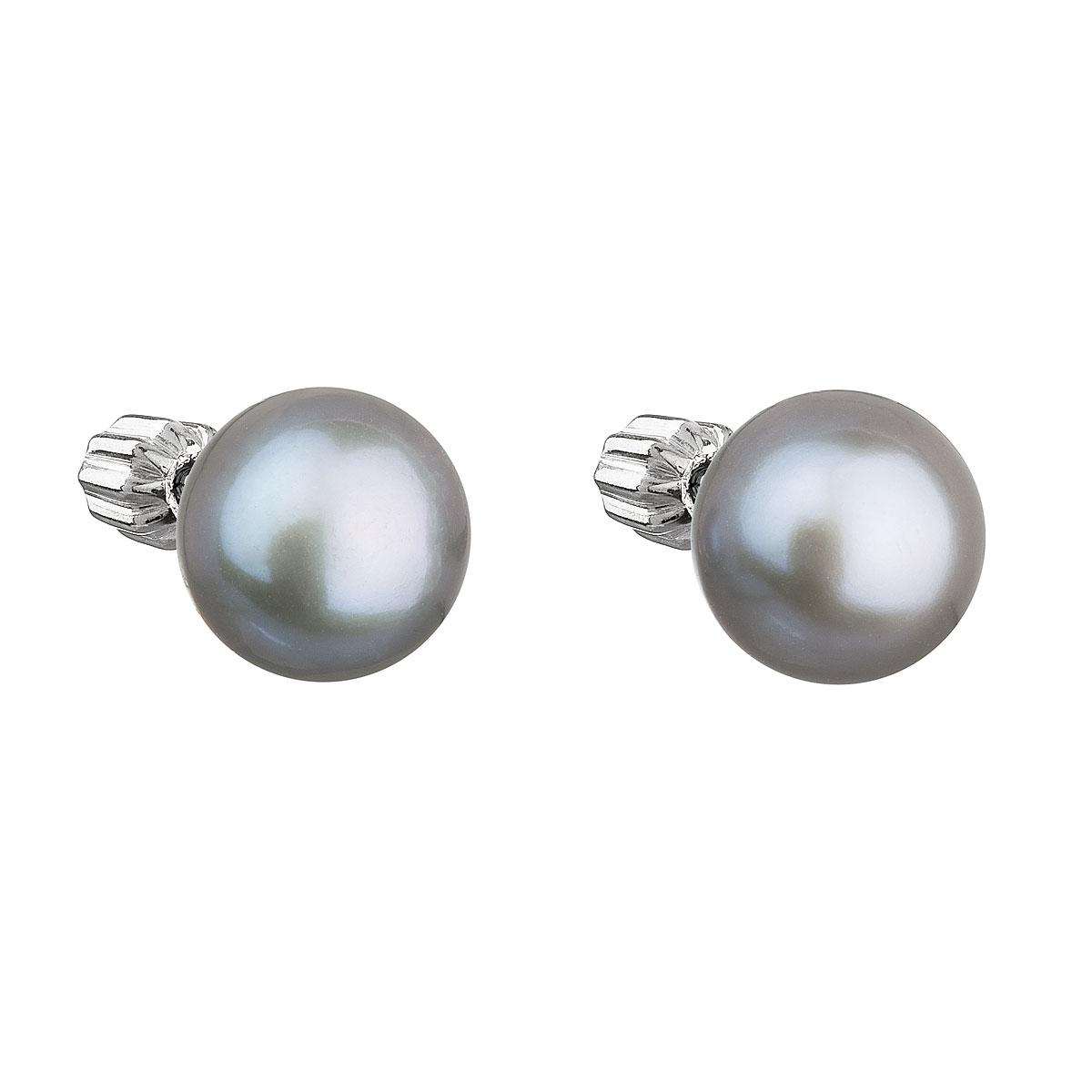 Strieborné náušnice kôstky so sivou riečnou perlou 21004.3