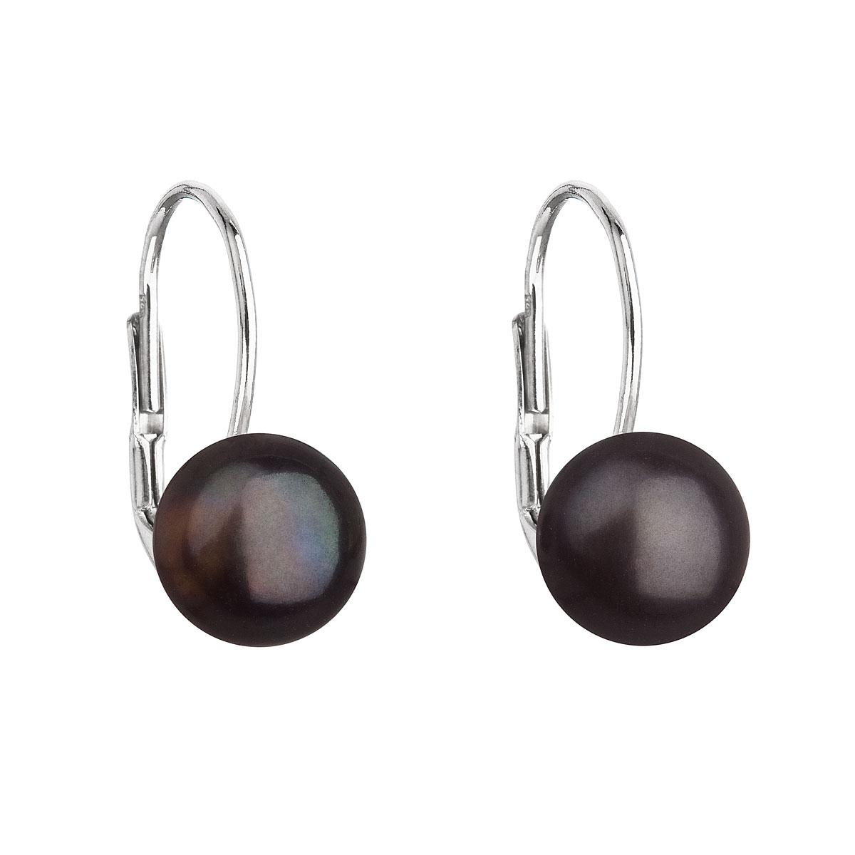 Strieborné náušnice visiace s čiernou riečnou perlou 21044.3
