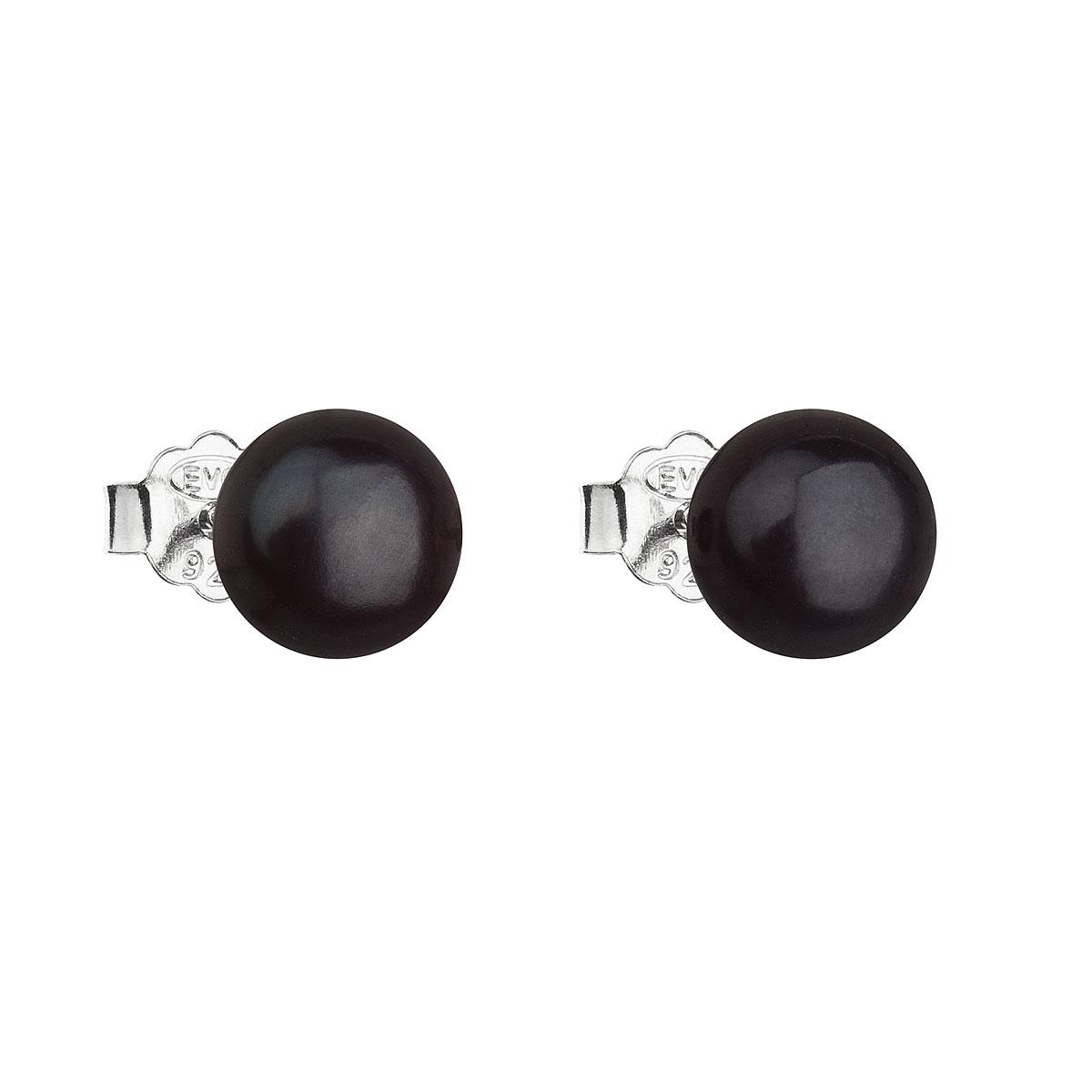 Strieborné náušnice perličky s čiernou riečnou perlou 21042.3