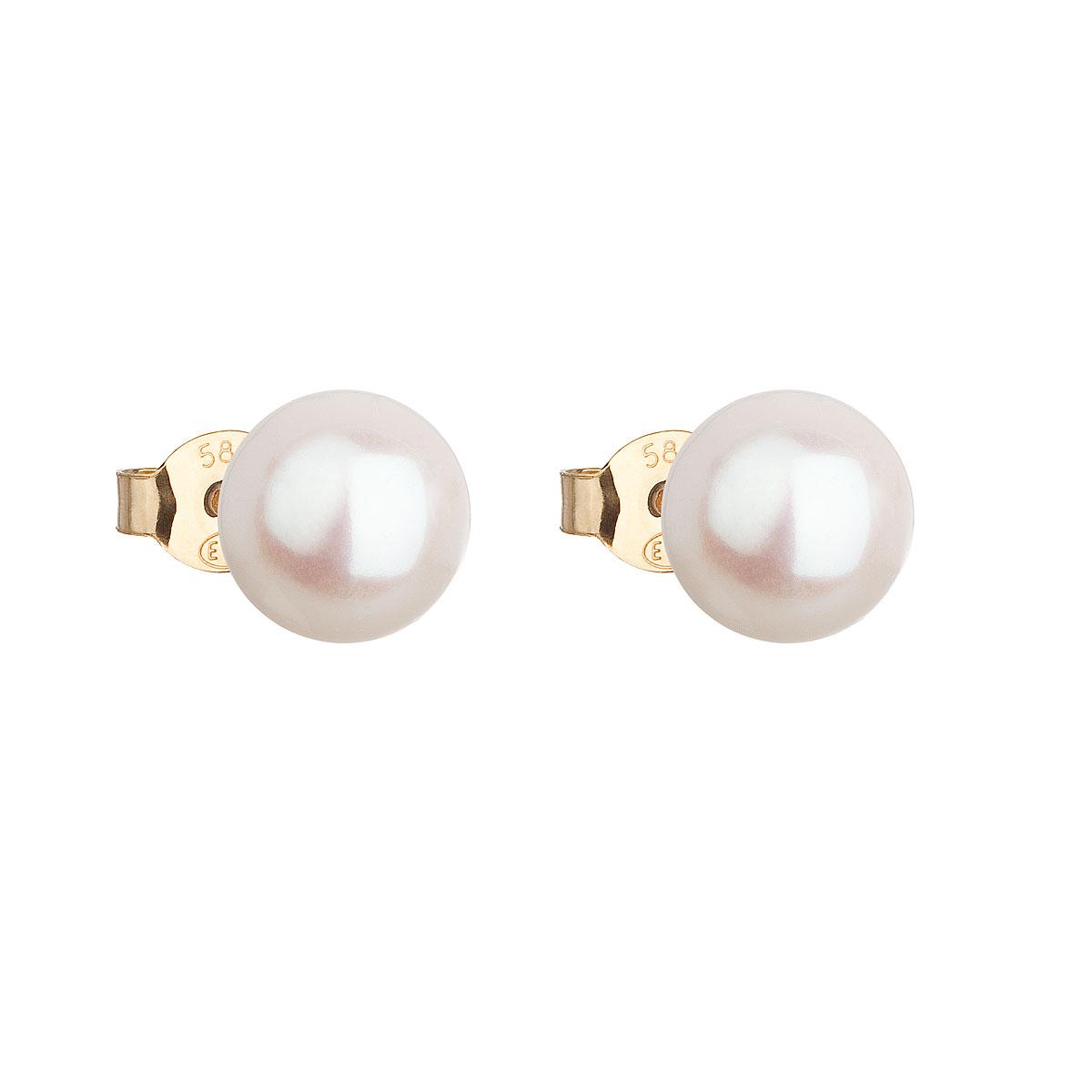 Zlaté 14 karátové náušnice kôstky s bielou riečnou perlou 921042.1