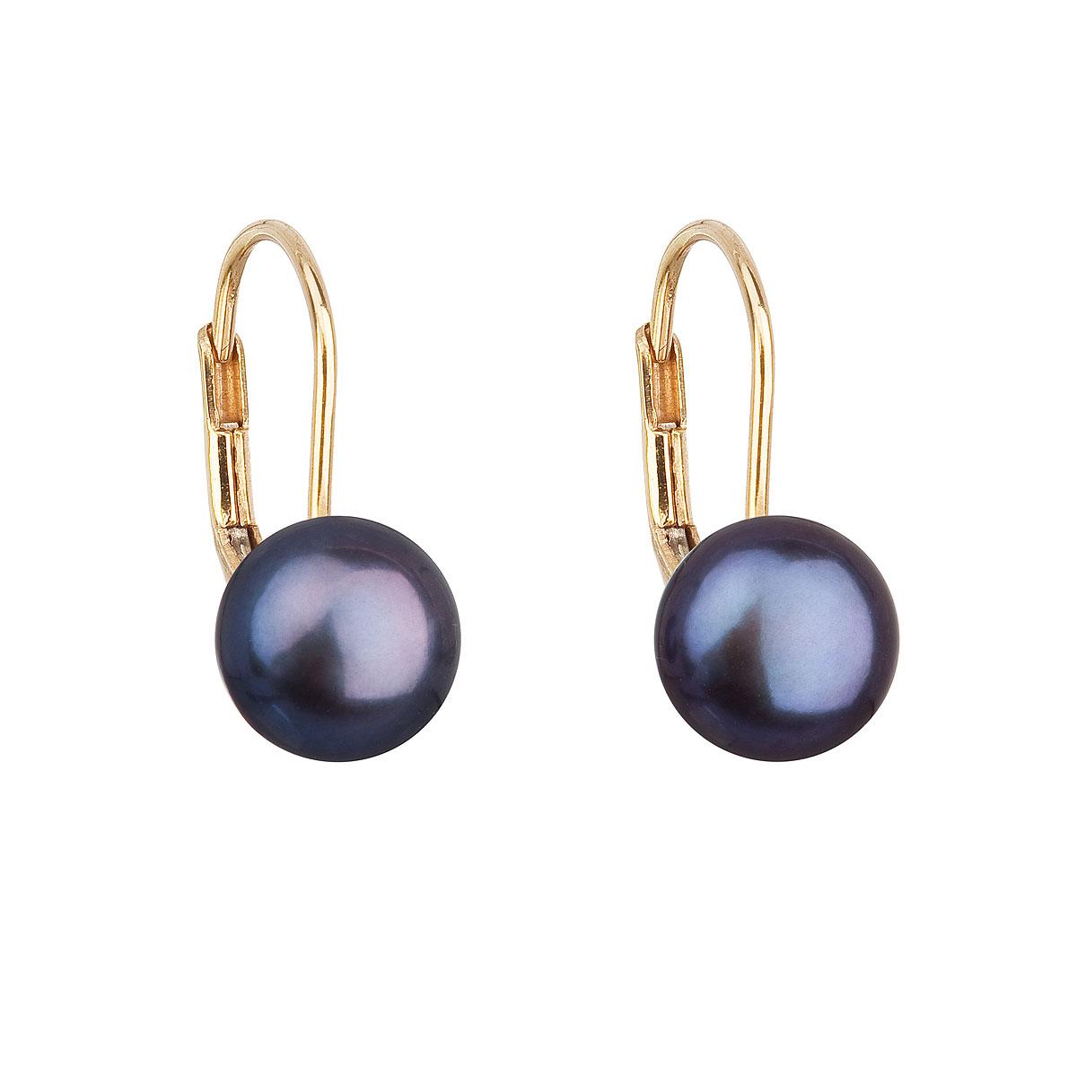 Zlaté 14 karátové náušnice visacie s modrou riečnou perlou 921009.3