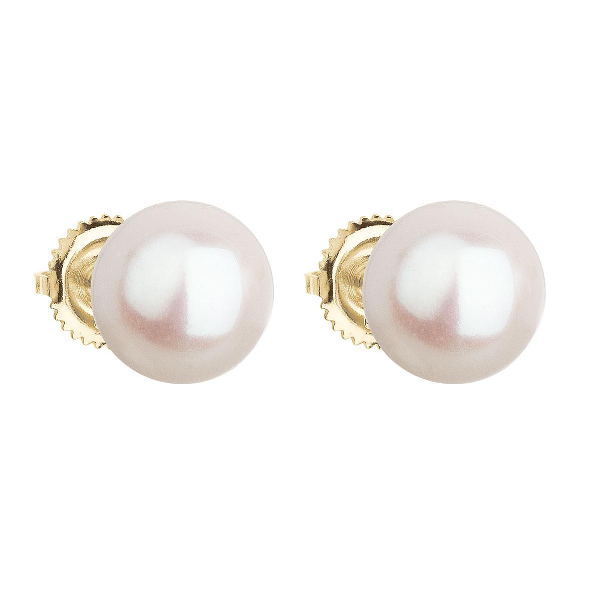 Zlaté 14 karátové náušnice kôstky s bielou riečnou perlou 921005.1