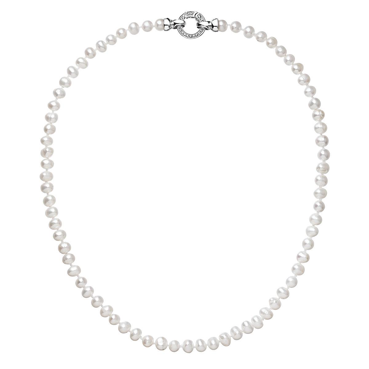 Perlový náhrdelník z pravých riečnych perál biely 22001.1