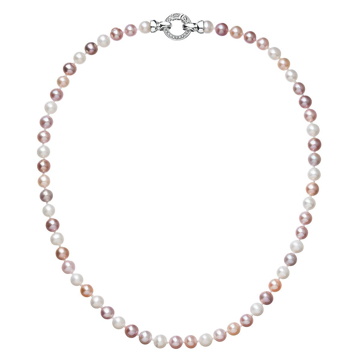 Perlový náhrdelník z pravých riečnych perál mix farieb 22004.3