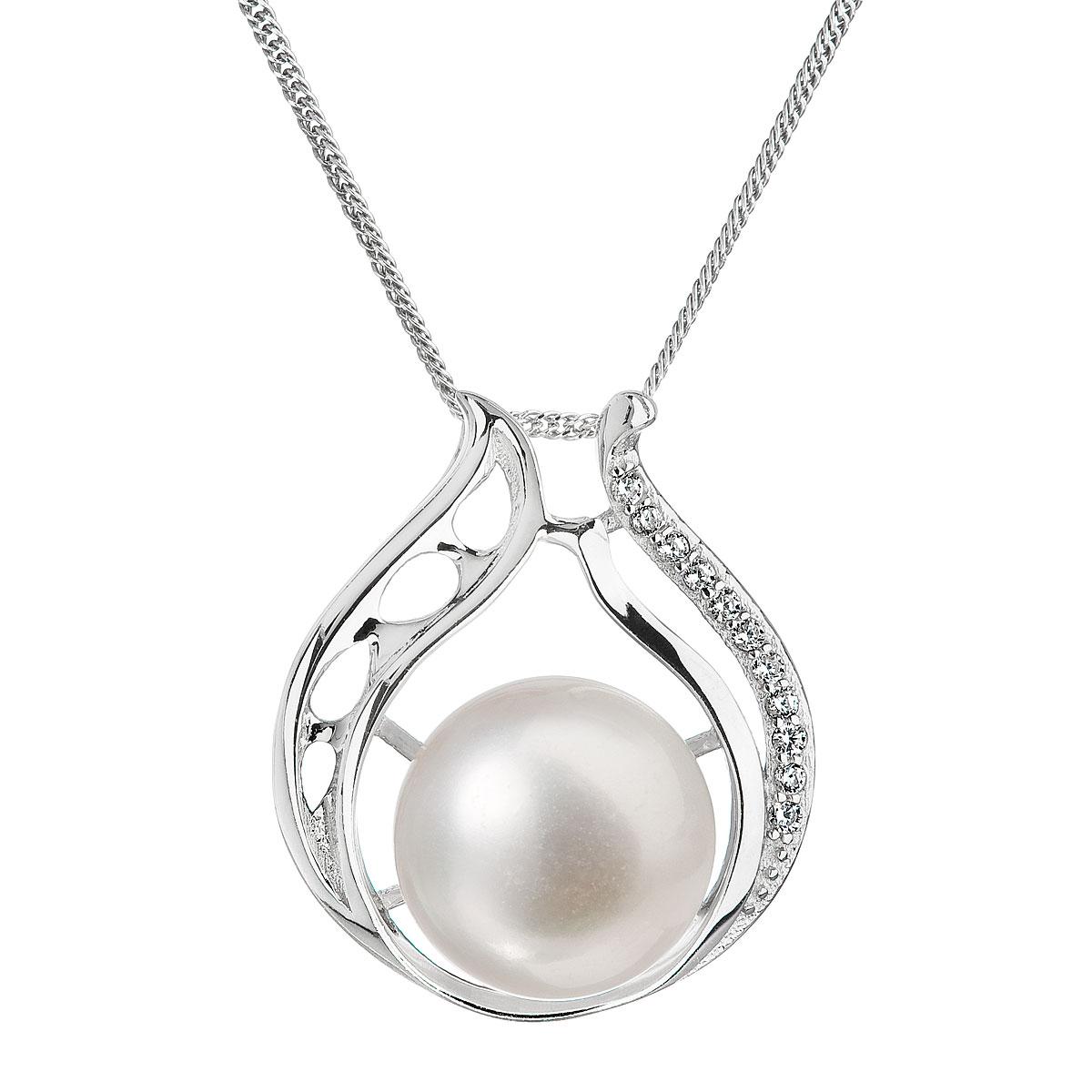 Perlový náhrdelník s retiazkou z pravých riečnych perál biely 22011.1