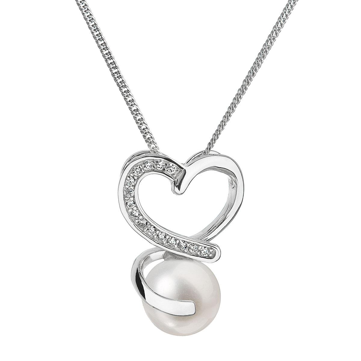 Perlový náhrdelník s retiazkou z pravých riečnych perál biely 22012.1