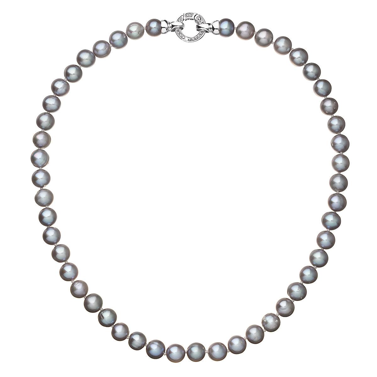 Perlový náhrdelník z pravých riečnych periel sivý 22028.3