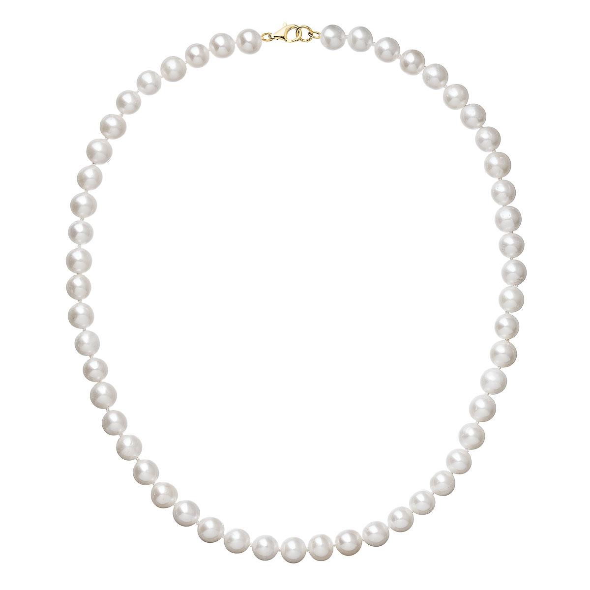 Perlový náhrdelník biely z pravých riečnych perál so zlatým 14 karátovým zapínaním 922003.1