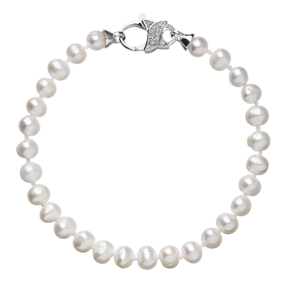 Perlový náramok z pravých riečnych perál biely 23002.3