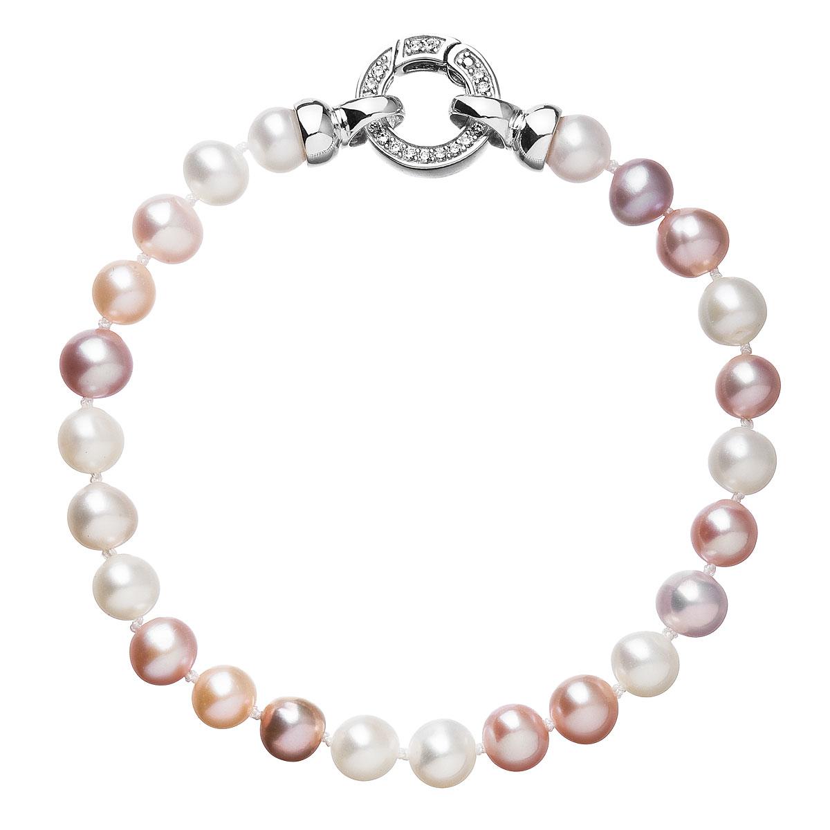 Perlový náramok z pravých riečnych perál mix farieb 23004.1