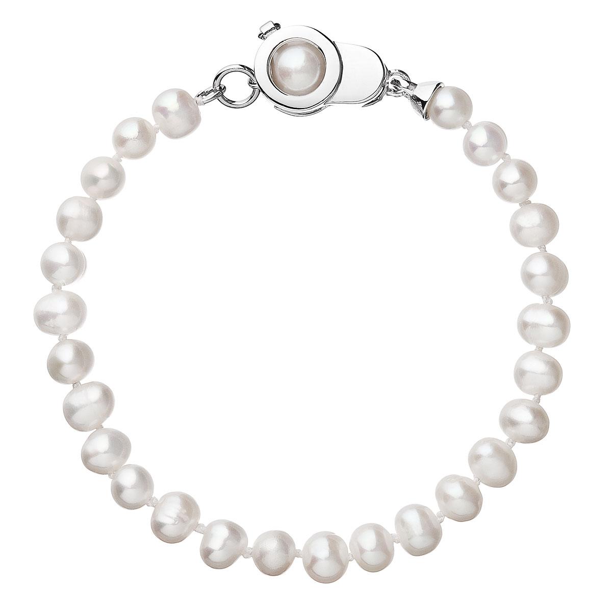 Perlový náramok z pravých riečnych perál biely 23006.1