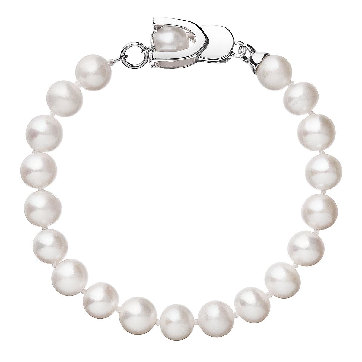 Perlový náramok z pravých riečnych perál biely 23007.1