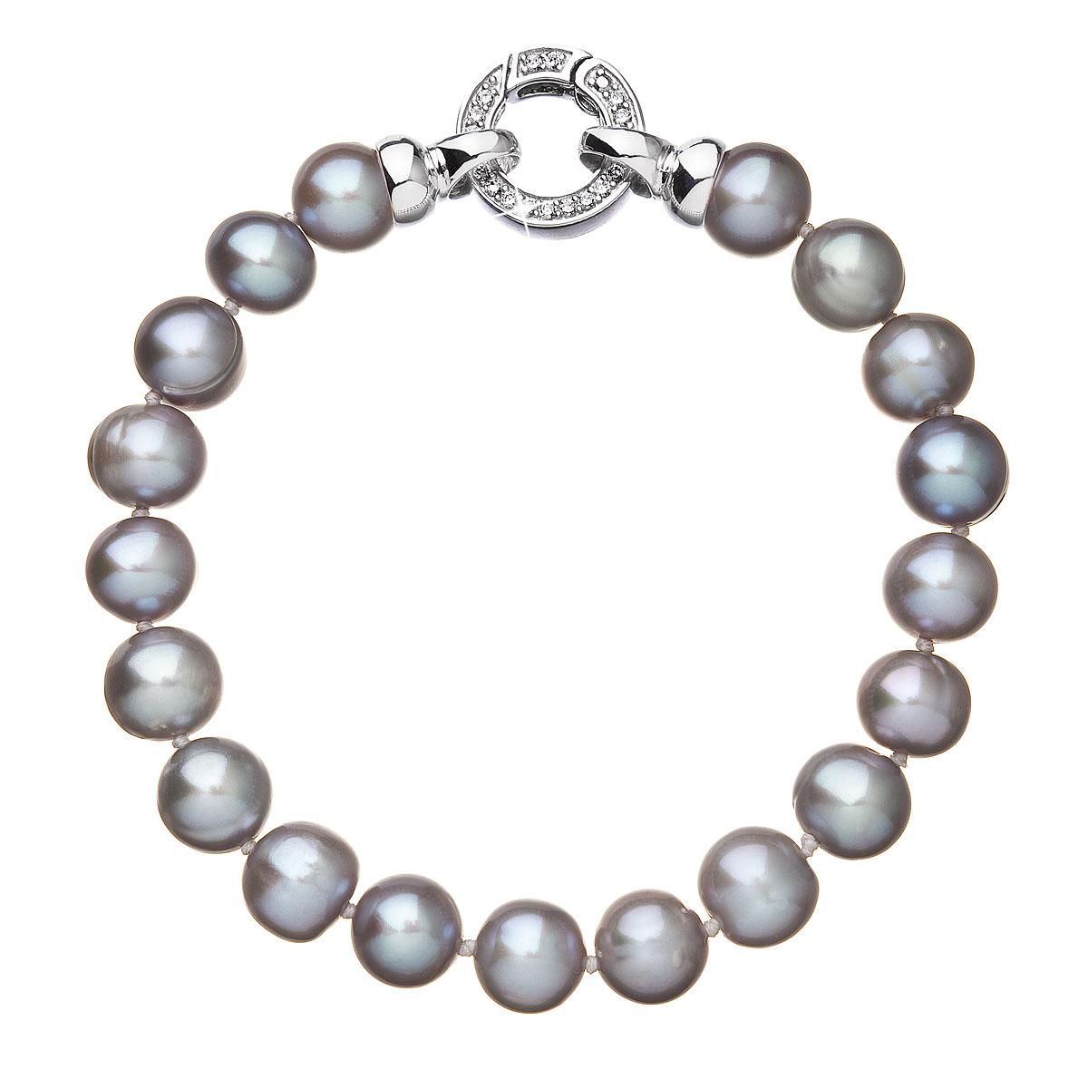 Perlový náramok z pravých riečnych periel sivý 23010.3