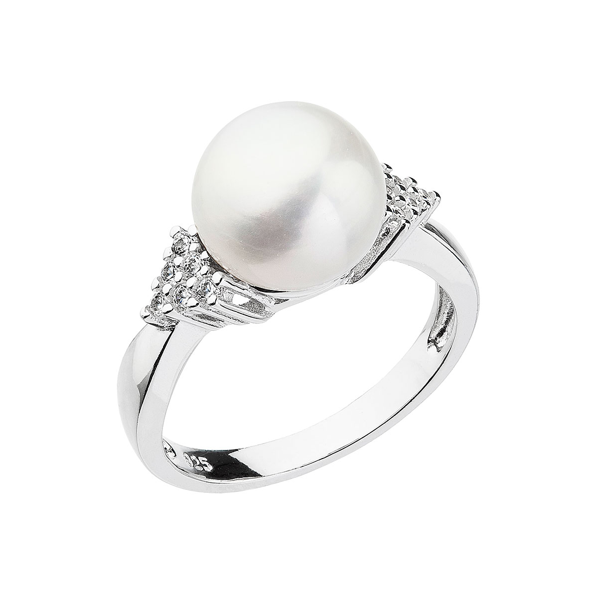 Strieborný prsteň s bielou riečnou perlou 25002.1