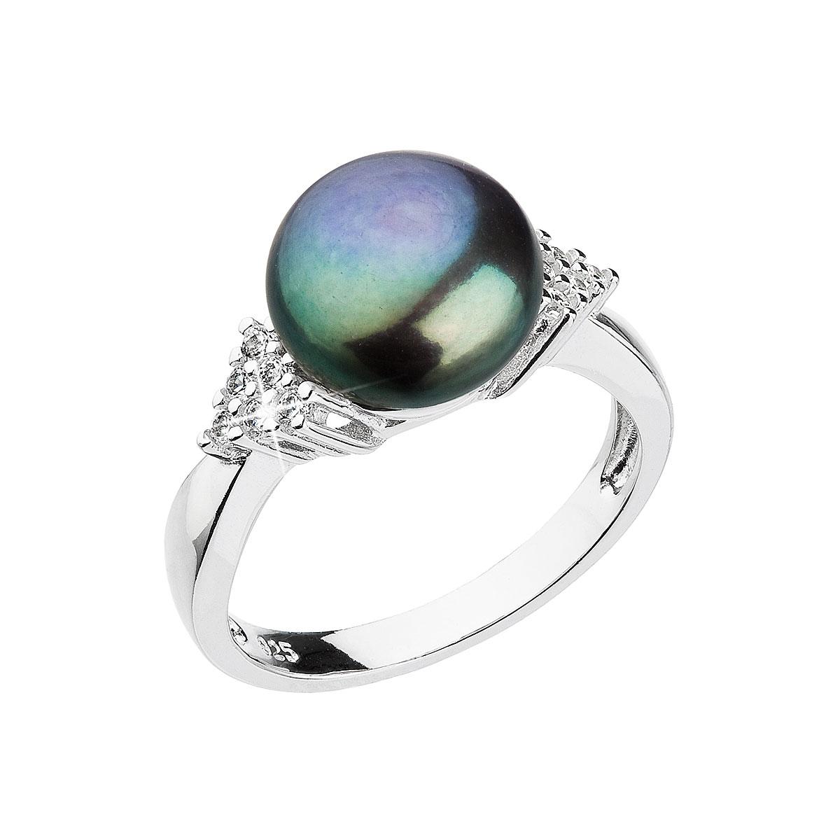 Strieborný prsteň s modrou riečnou perlou 25002.3