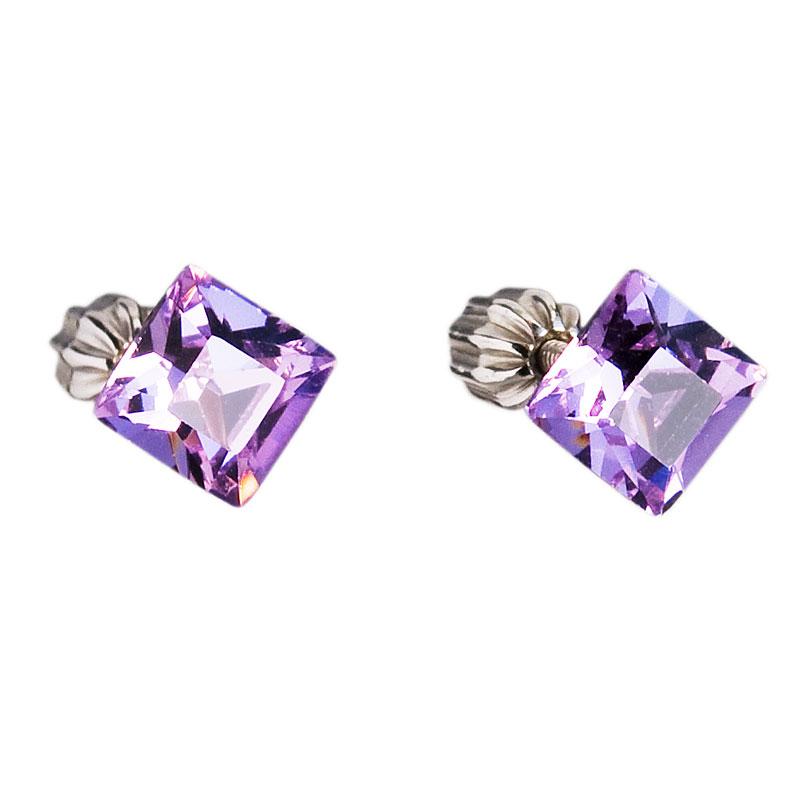 Strieborné náušnice kôstka s krištáľmi fialová kostička 31065.3