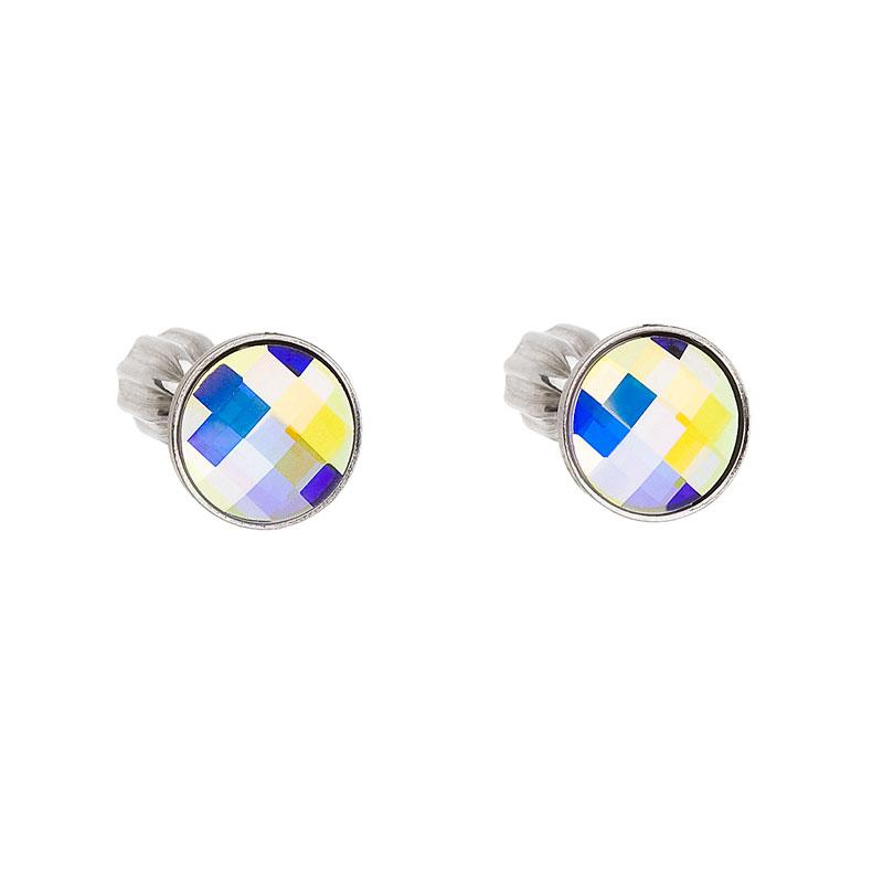 Strieborné náušnice perlička s krištáľmi Swarovski AB efekt okrúhle 31137.2
