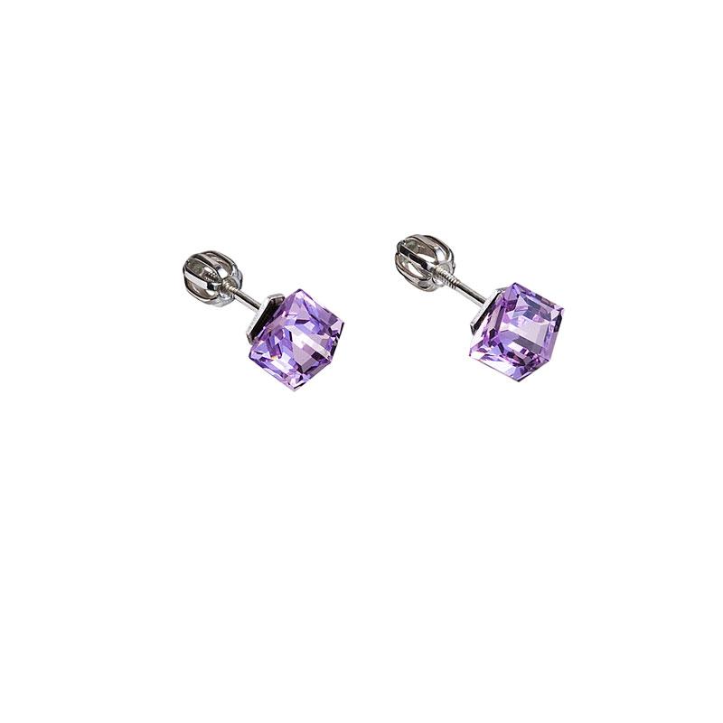 Strieborné náušnice kôstka s krištáľmi fialová kostička 31030.3