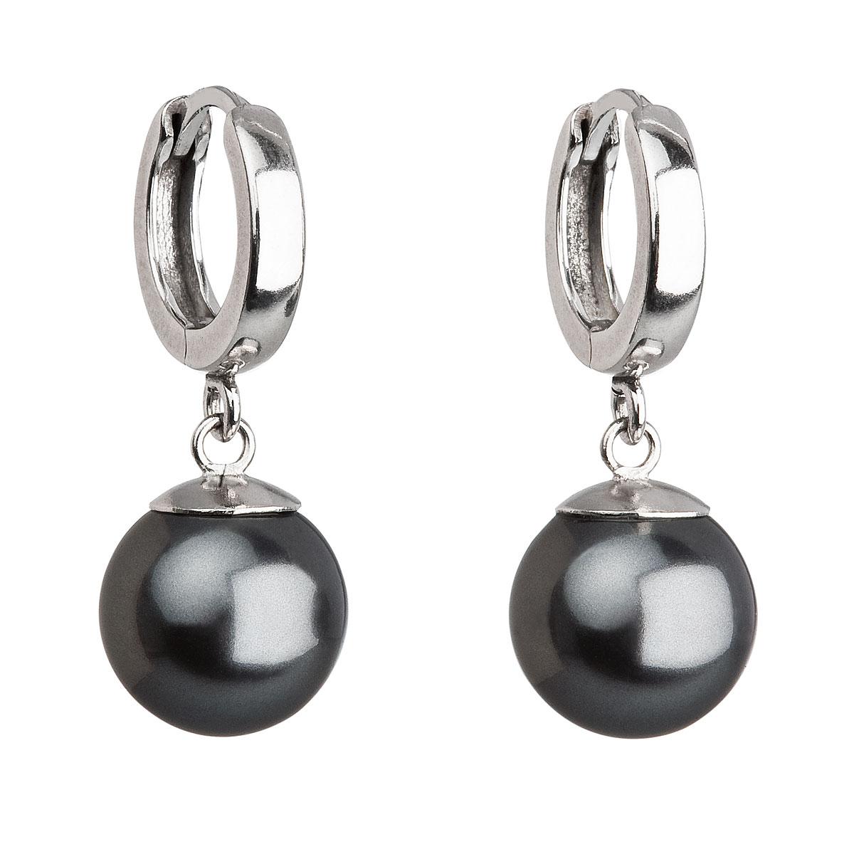 Strieborné náušnice visiace s perlou Swarovski šedé okrúhle 31151.3