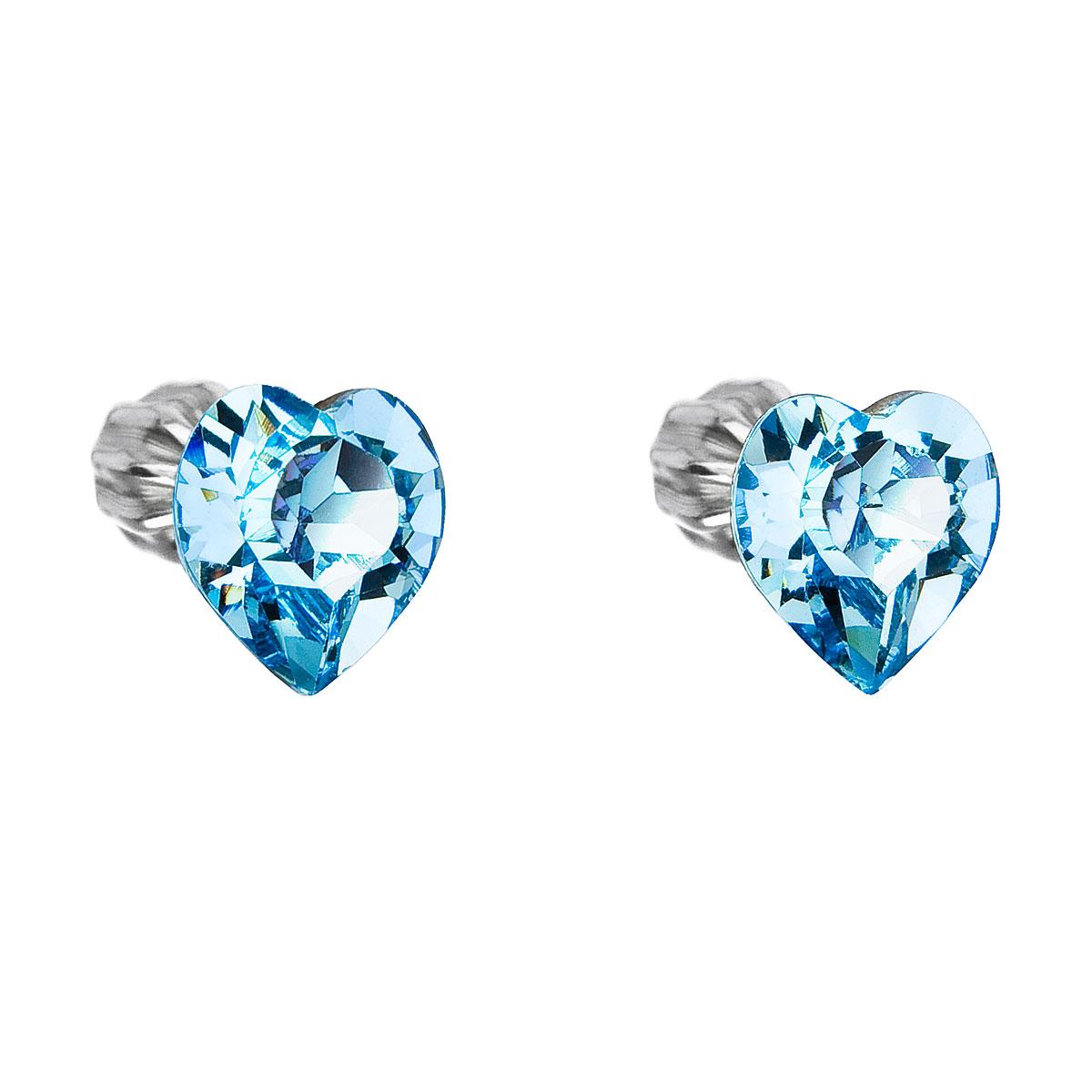 Strieborné náušnice kôstka s krištáľmi Swarovski modré srdce 31139.3