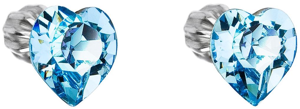 Strieborné náušnice kôstka s krištáľmi Swarovski modré srdce 31139.3 ... c87cc874744