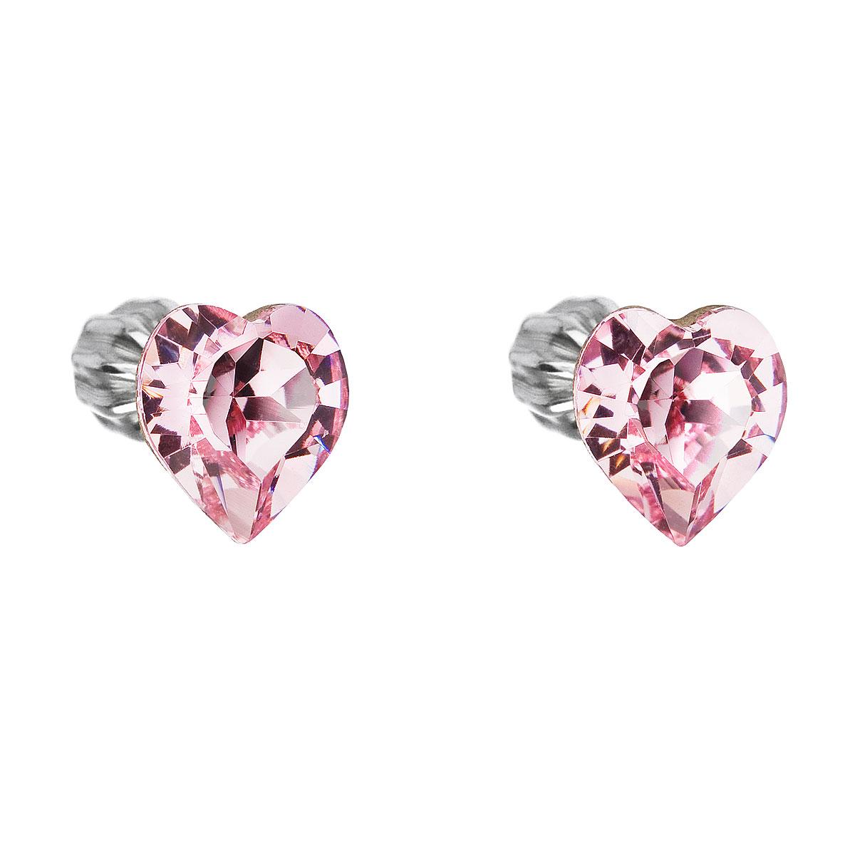 Strieborné náušnice kôstka s krištáľmi Swarovski ružové srdce 31139.3