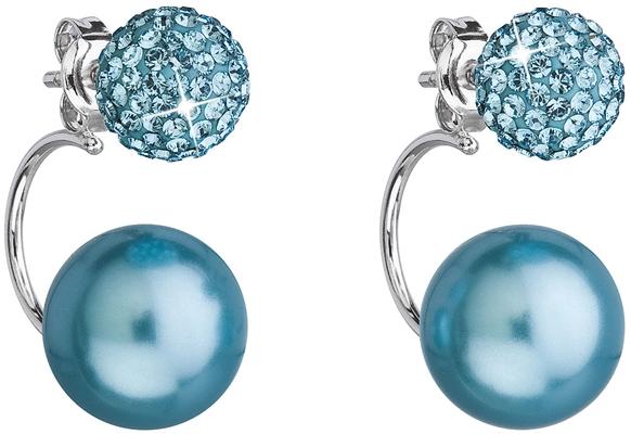 Strieborné náušnice dvojité s kryštálmi Swarovski modré okrúhle 31179.3 027f6ef2f83