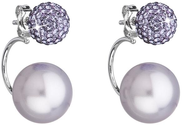 ece8294a3 Strieborné náušnice dvojité s kryštálmi Swarovski fialové okrúhle 31179.3  violet
