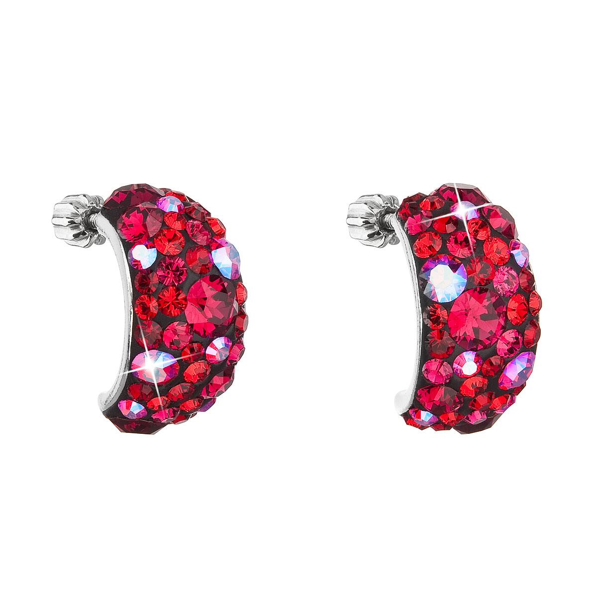 Strieborné náušnice visiace s krištáľmi Swarovski červenej polkruh 31164.3 cherry