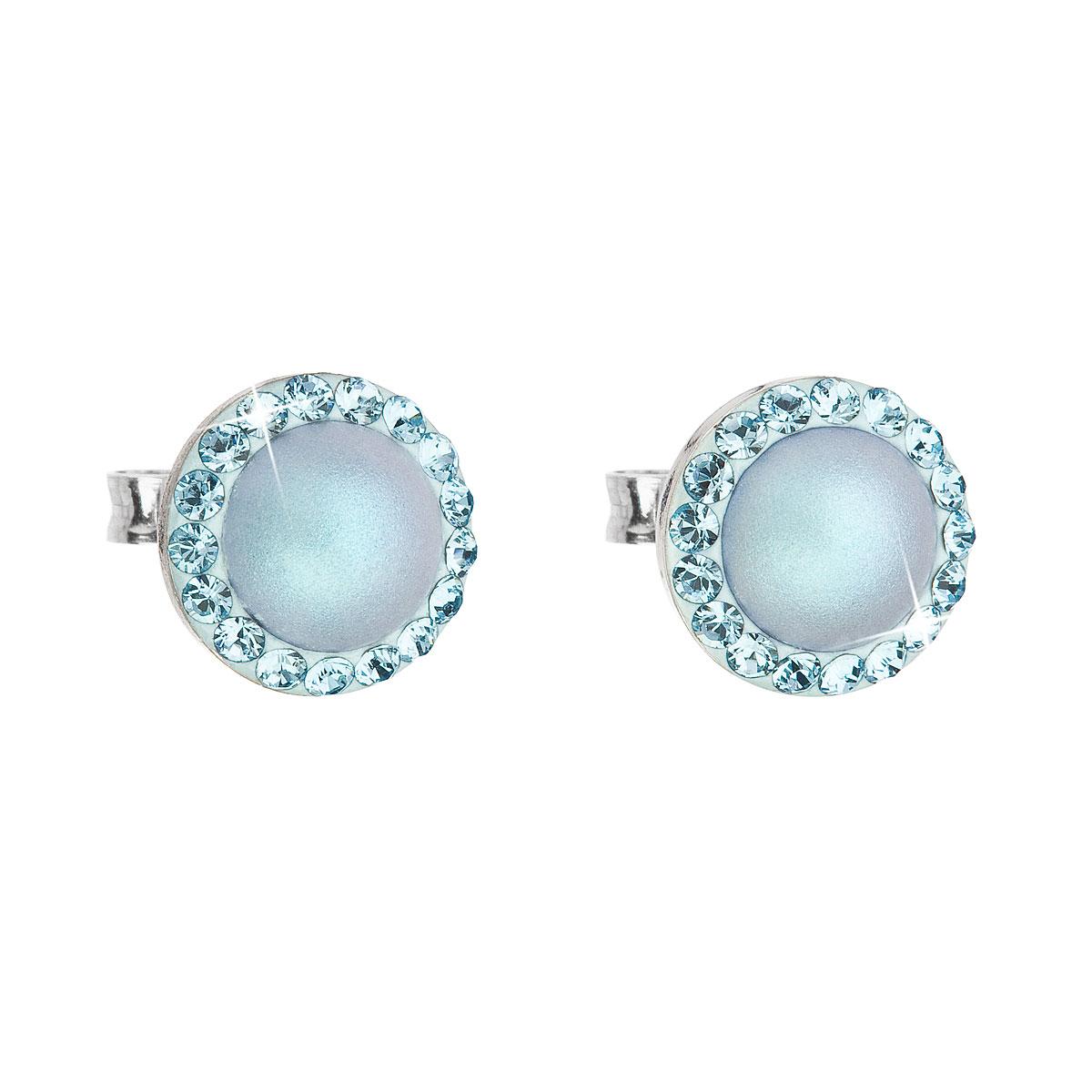 Strieborné náušnice kôstka s krištáľmi Swarovski a svetlomodrou matnou perlou okrúhle 31214.3