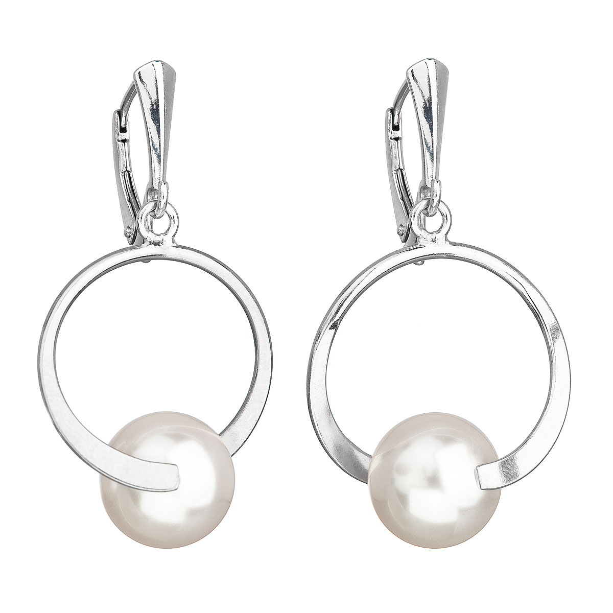 Strieborné náušnice visiace s perlou Swarovski biele okrúhle 31223.1