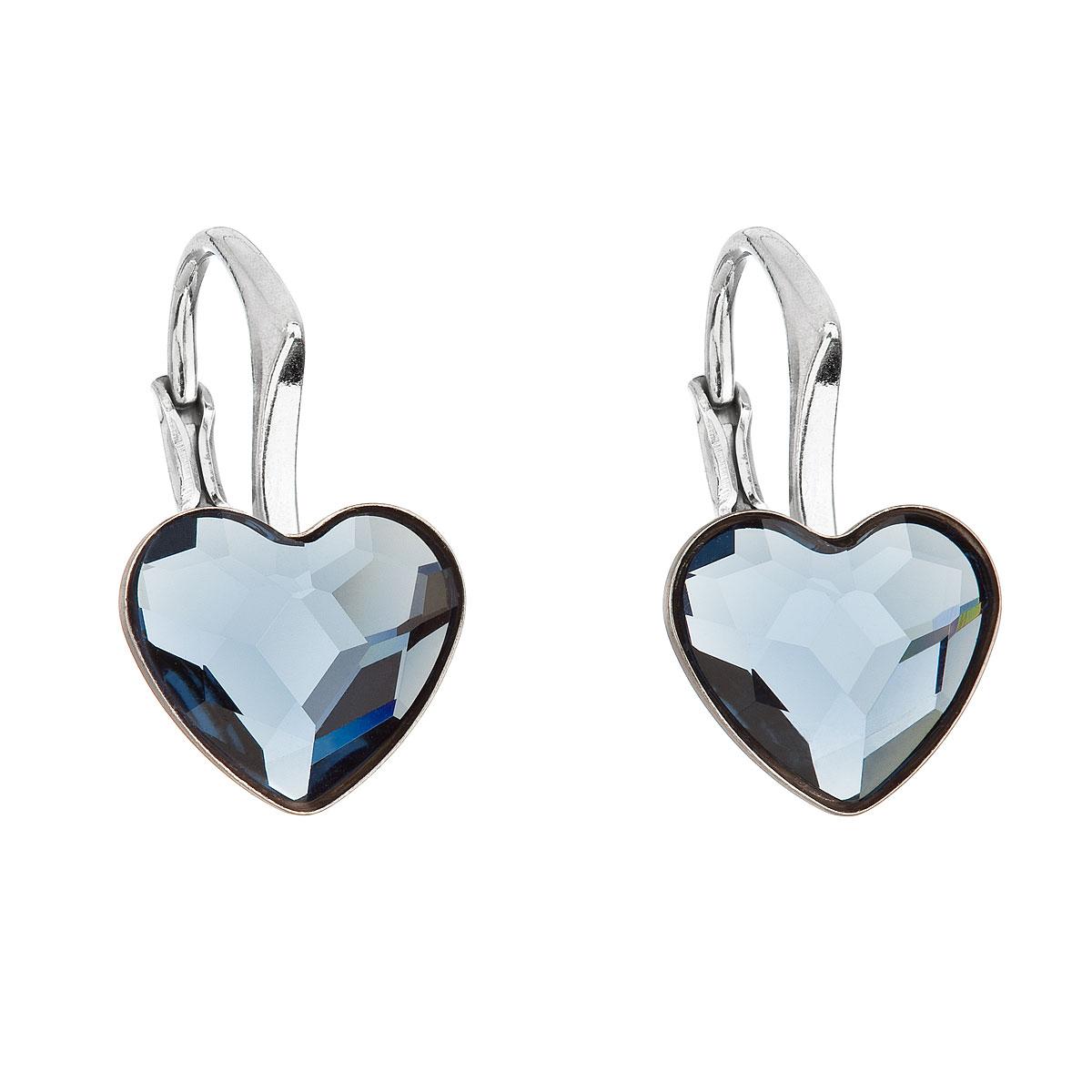 Strieborné náušnice visiace s krištáľmi Swarovski modré srdce 31240.3
